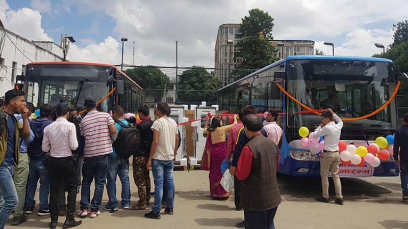 सुन्दर यातायातका बस आजबाट औपचारिक संचालनमा, ३ दिन निःशुल्क चढ्न पाइने