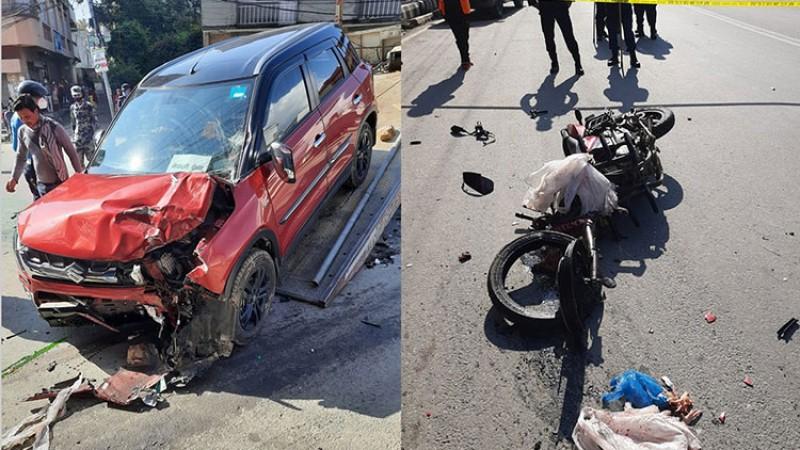 रविभवनमा कार र मोटरसाइकल ठोक्किदा एकको मृत्यु, कार चालक प्रहरी हिरासतमा_img